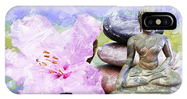 IPhone Case featuring the mixed media Namaste Buddha. V3 by Lita Kelley