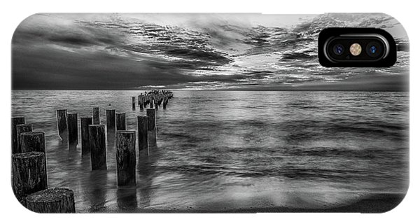 Naples Sunset In Black And White IPhone Case