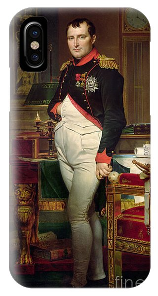 Clock iPhone Case - Napoleon Bonaparte In His Study At The Tuileries, 1812 by Jacques Louis David