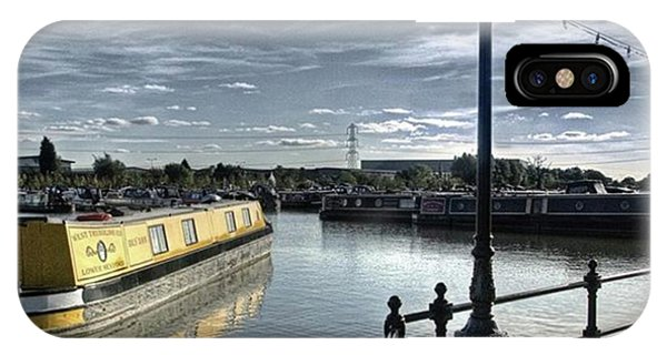 Sky iPhone Case - Narrowboat Idly Dan At Barton Marina On by John Edwards
