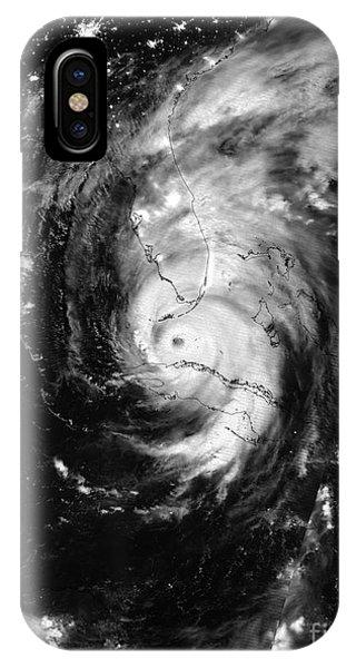Nasa Hurricane Irma Between Cuba And Florida Satellite Image IPhone Case