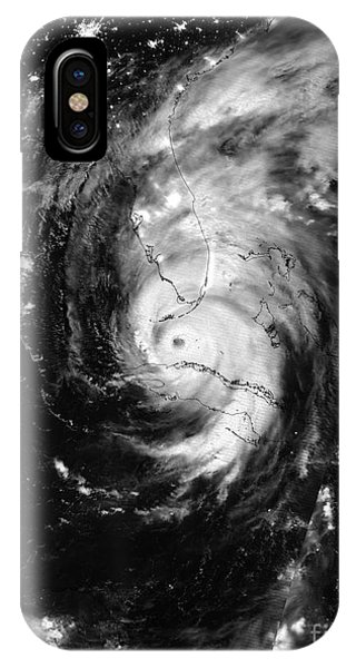 Nasa Hurricane Irma Between Cuba And Florida Satellite Image IPhone Case