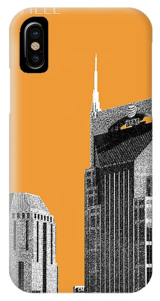 Nashville Skyline iPhone Case - Nashville Skyline At And T Batman Building - Orange by DB Artist