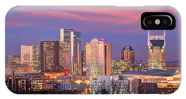 Nashville Skyline iPhone Case - Nashville Skyline At Dusk 2018 Panorama Color by Jon Holiday