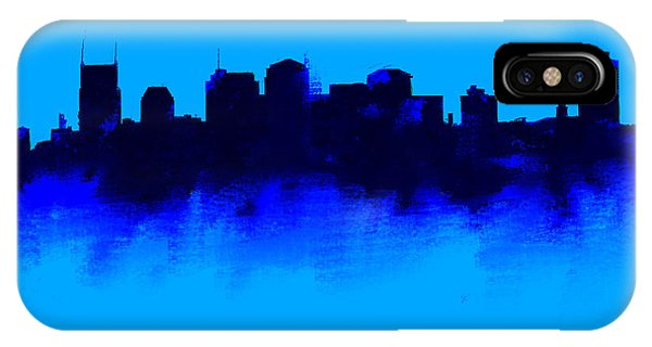 Ben Affleck iPhone Case - Nashville  Skyline Blue  by Enki Art