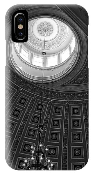 National Statuary Hall Ceiling In Black And White IPhone Case
