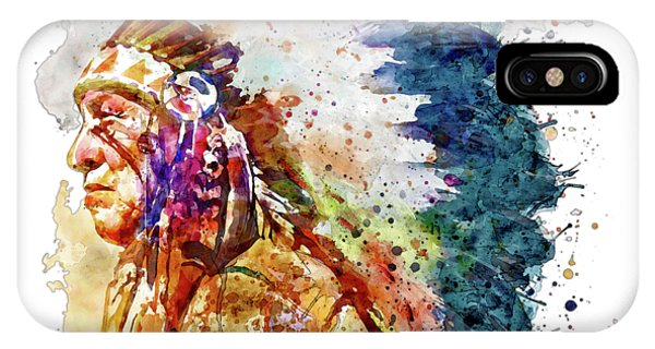 Native iPhone Case - Native American Chief Side Face by Marian Voicu