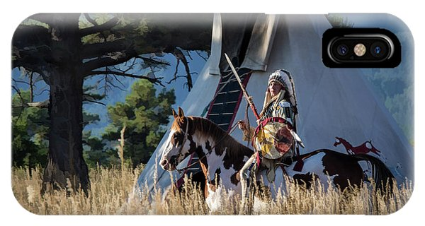 Native American In Full Headdress In Front Of Teepee IPhone Case