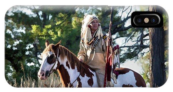 Native American In Full Headdress On A Paint Horse IPhone Case