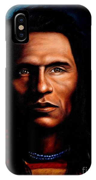 Native American Spirit Portrait iPhone Case - Native American Indian Soaring Eagle by Georgia's Art Brush