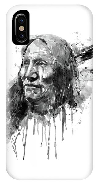 Native American Portrait Black And White IPhone Case