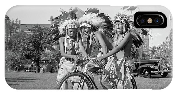 Native Americans With Bicycle IPhone Case