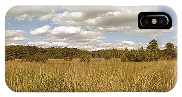 Sunny iPhone Case - Natural Meadow Landscape Panorama. by Arletta Cwalina