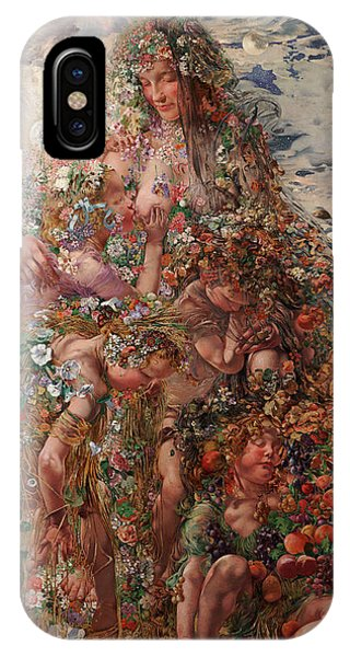 IPhone Case featuring the painting Nature Or Abundance by Leon Frederic