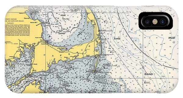 Vintage Cape Cod Nautical Chart 1945h IPhone Case