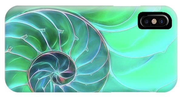 Nautilus Aqua Spiral IPhone Case