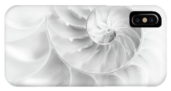 Aqua iPhone Case - Nautilus Shell In High Key by Tom Mc Nemar