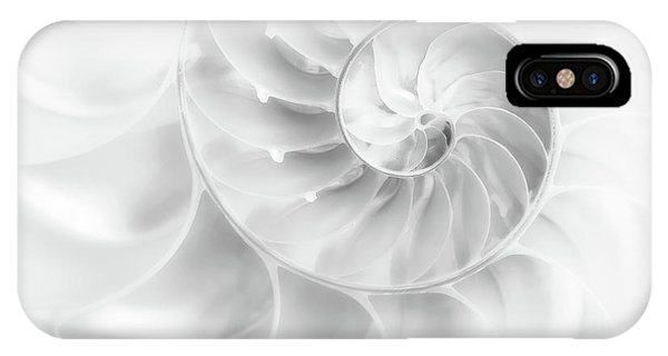 Aqua iPhone Case - Nautilus Shell In High Key by Tom Mc Nemar