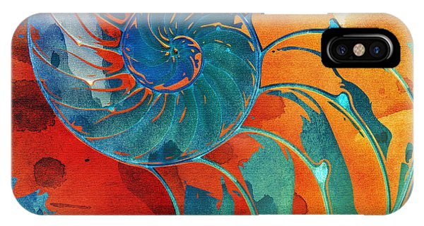 Nautilus Shell Orange Blue Green IPhone Case