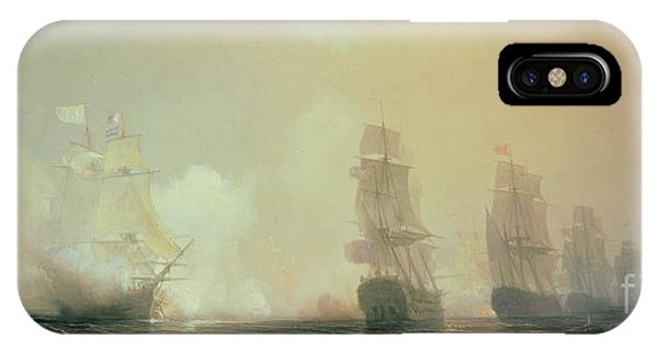 Docked Boats iPhone Case - Naval Battle In Chesapeake Bay by Jean Antoine Theodore Gudin