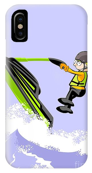 Jet Ski iPhone Case - Navigating Between Giant Waves In A Jet Ski by Daniel Ghioldi