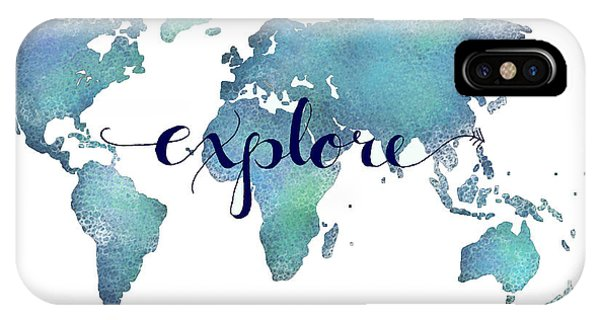 Movement iPhone Case - Navy And Teal Explore World Map by Michelle Eshleman