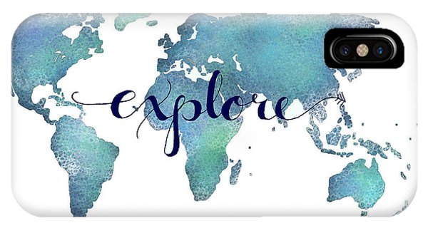 Travel iPhone Case - Navy And Teal Explore World Map by Michelle Eshleman