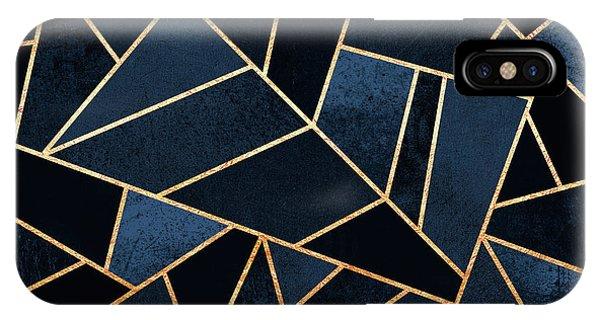 Geometric iPhone X Case - Navy Stone by Elisabeth Fredriksson