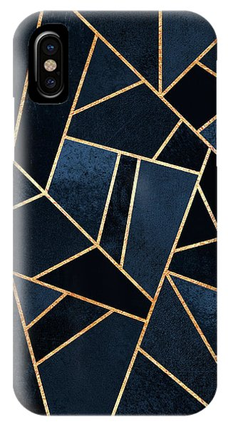 Graphic Design iPhone X Case - Navy Stone by Elisabeth Fredriksson