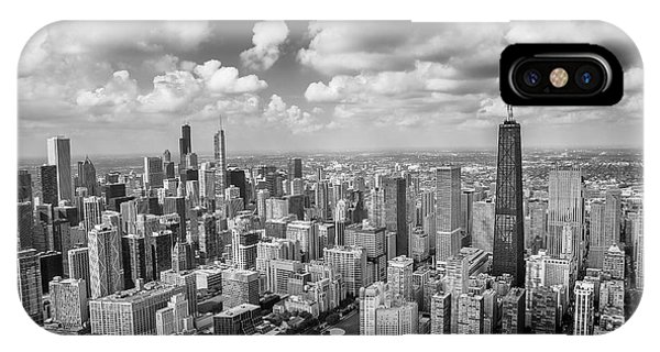 Chicago Skyline Art iPhone Case - Near North Side And Gold Coast Black And White by Adam Romanowicz