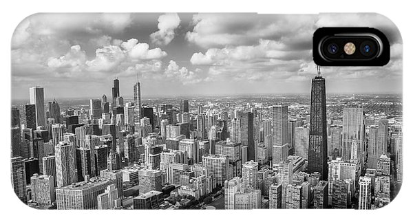 Hancock Building iPhone Case - Near North Side And Gold Coast Black And White by Adam Romanowicz
