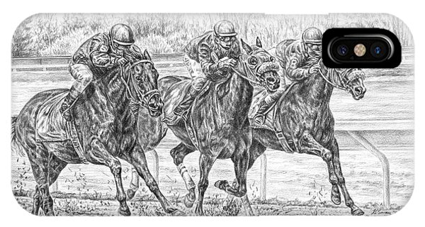 Neck And Neck - Horse Racing Art Print IPhone Case