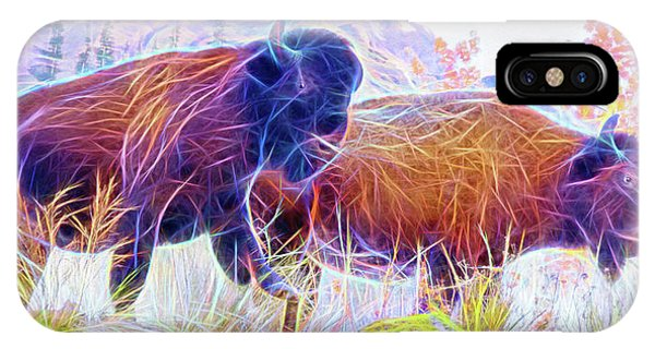 IPhone Case featuring the digital art Neon Bison Pair by Ray Shiu