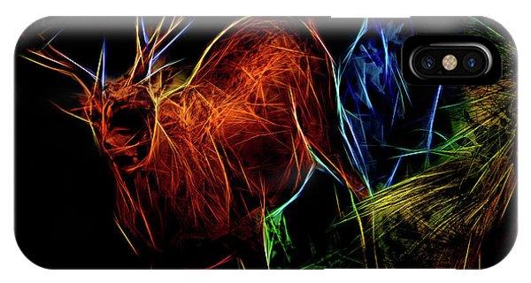 IPhone Case featuring the digital art Neon Buck by Ray Shiu