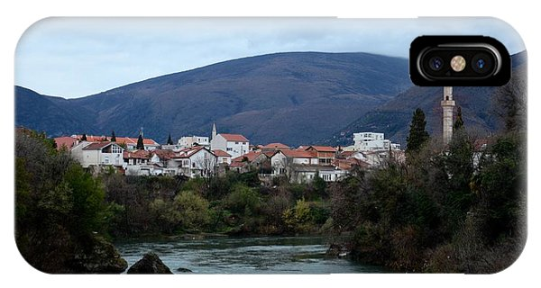Mostar iPhone Case - Neretva River And Mostar City And Hills With Mosque Minaret Bosnia Herzegovina by Imran Ahmed