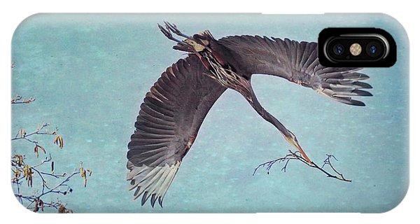 Nesting Heron In Flight IPhone Case
