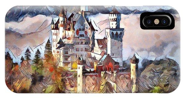IPhone Case featuring the digital art Neuschwanstein Castle by Pennie McCracken