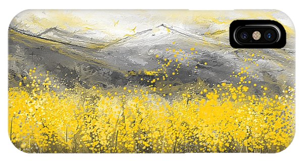 Neutral Sun - Yellow And Gray Art IPhone Case