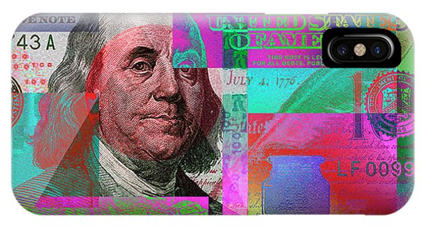New 2009 Series Pop Art Colorized Us One Hundred Dollar Bill  No. 3 IPhone Case
