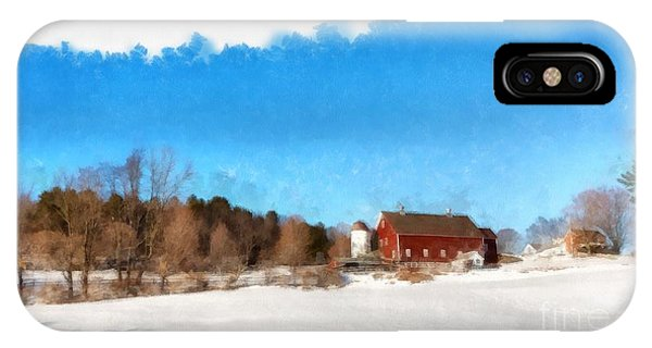 Barn Snow iPhone Case - New England Farm Winter South Woodstock Vermont by Edward Fielding