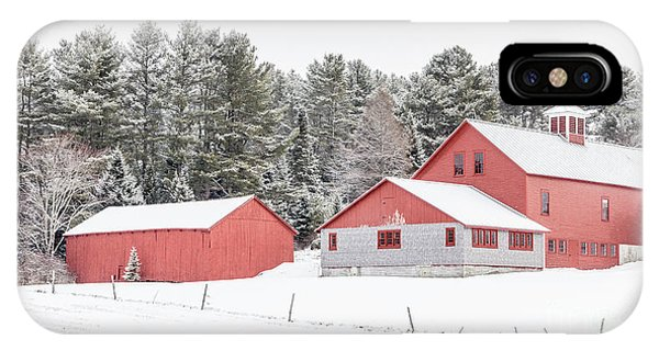 New England Barn iPhone Case - New England Farm With Red Barns In Winter by Edward Fielding