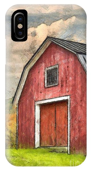 New England Barn iPhone Case - New England Red Barn Pencil by Edward Fielding