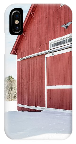 New England Barn iPhone Case - New England Red Barn Winter Landscape by Edward Fielding