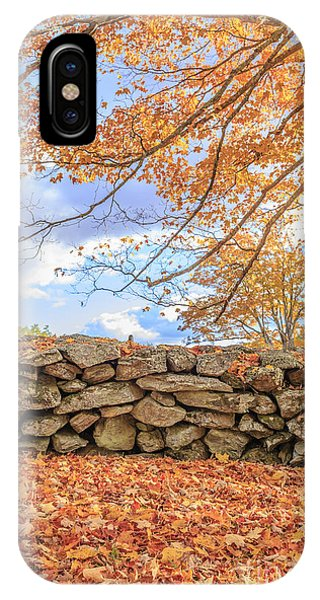 New Leaf iPhone Case - New England Stone Wall With Fall Foliage by Edward Fielding