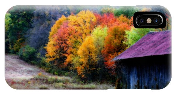 New England Tobacco Barn In Autumn IPhone Case