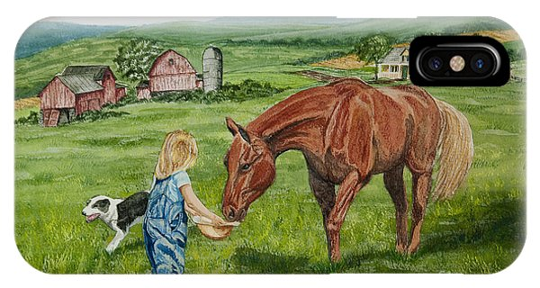 New England Barn iPhone Case - New Friends by Charlotte Blanchard