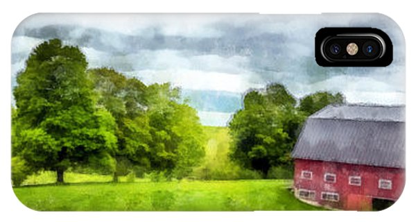 New England Barn iPhone Case - New Hampshire Landscape Red Barn Etna by Edward Fielding