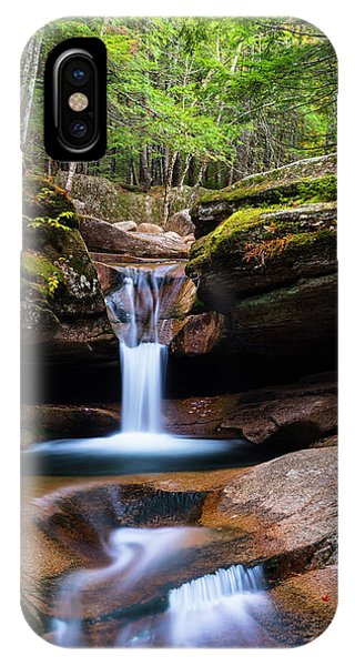 New Hampshire Sabbaday Falls And Fall Foliage Panorama IPhone Case