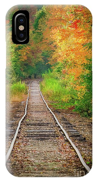 New Hampshire Train Tracks To Foliage IPhone Case