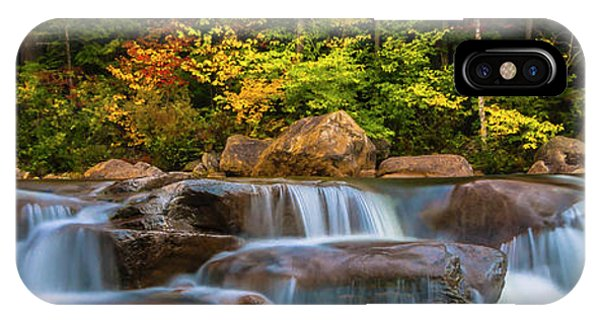 New Hampshire White Mountains Swift River Waterfall In Autumn With Fall Foliage IPhone Case